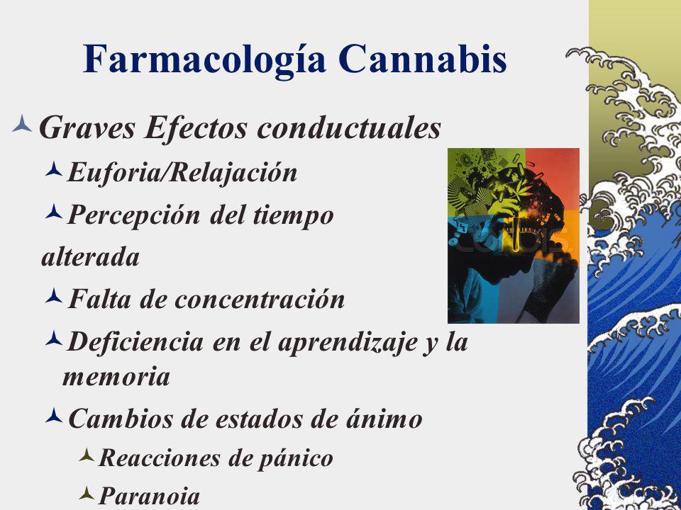 Farmacología Cannabis Graves Efectos conductuales Euforia/Relajación Percepción del tiempo alterada Falta de concentración Deficiencia en el aprendiza