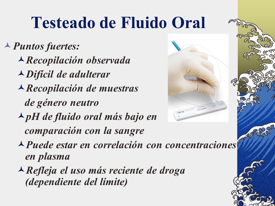 Testeado de Fluido Oral Puntos fuertes: Recopilación observada Difícil de adulterar Recopilación de muestras de género neutro pH de fluido oral más ba