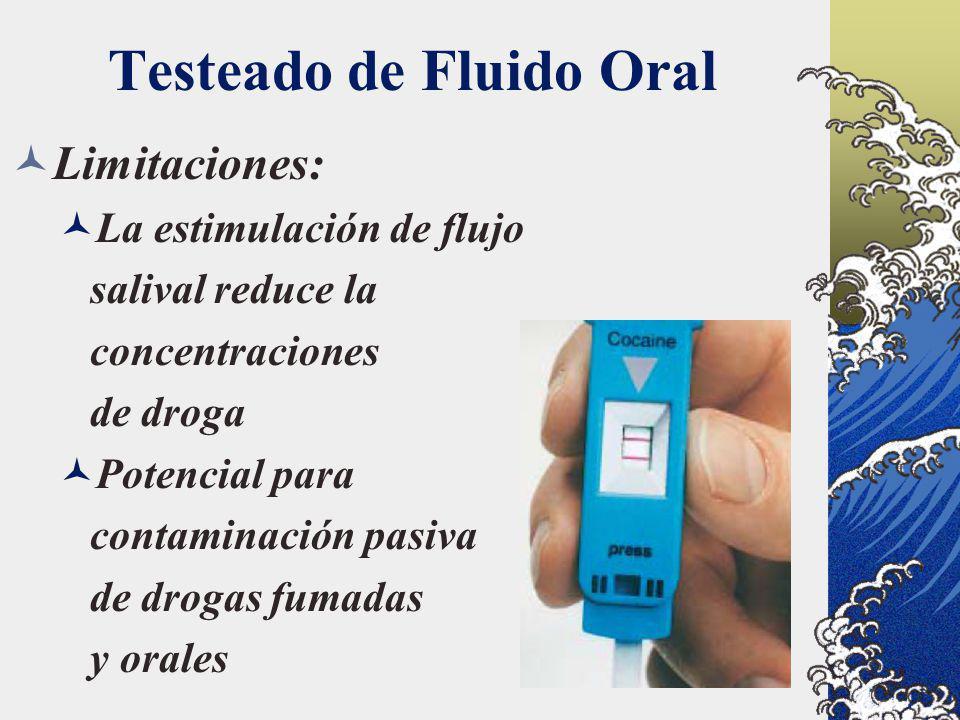 Testeado de Fluido Oral Limitaciones: La estimulación de flujo salival reduce la concentraciones de droga Potencial para contaminación pasiva de droga