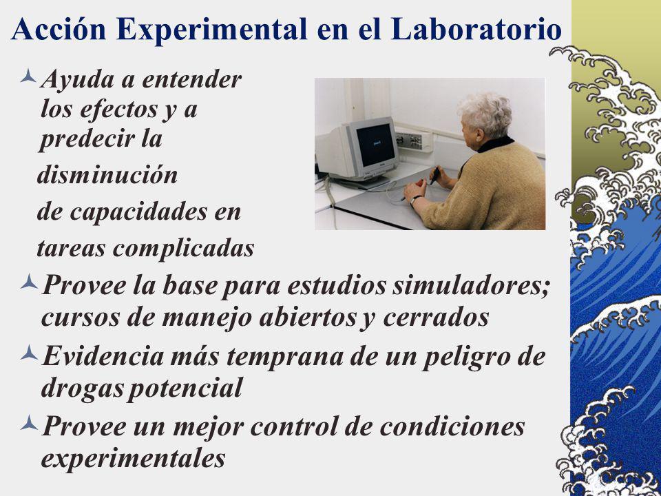 Acción Experimental en el Laboratorio Ayuda a entender los efectos y a predecir la disminución de capacidades en tareas complicadas Provee la base par