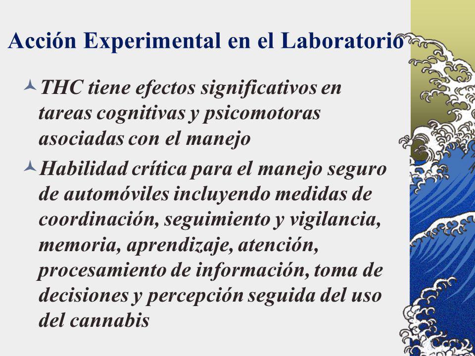 Acción Experimental en el Laboratorio THC tiene efectos significativos en tareas cognitivas y psicomotoras asociadas con el manejo Habilidad crítica p