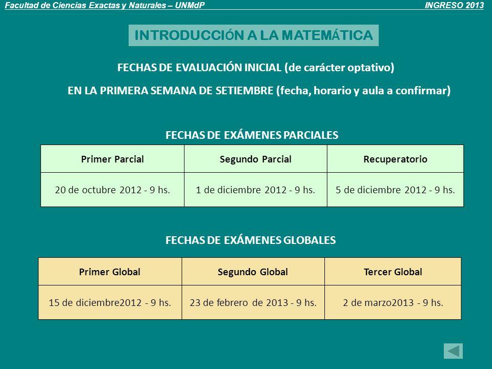 Primer ParcialSegundo ParcialRecuperatorio 20 de octubre 2012 - 9 hs.1 de diciembre 2012 - 9 hs.5 de diciembre 2012 - 9 hs.