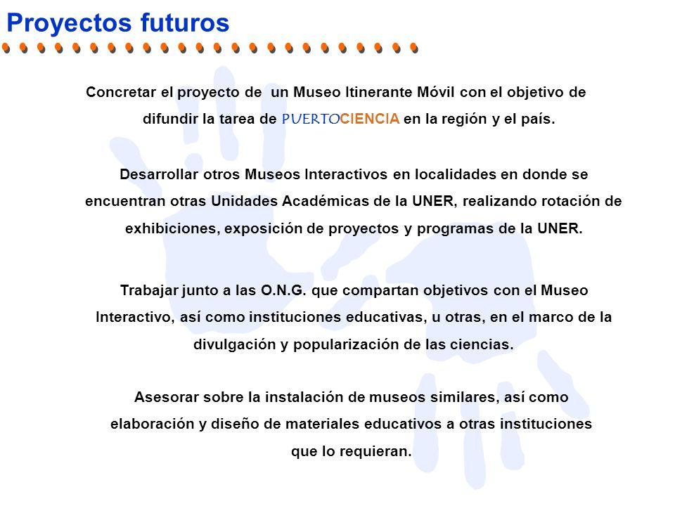 Proyectos futuros Concretar el proyecto de un Museo Itinerante Móvil con el objetivo de difundir la tarea de PUERTOCIENCIA en la región y el país.