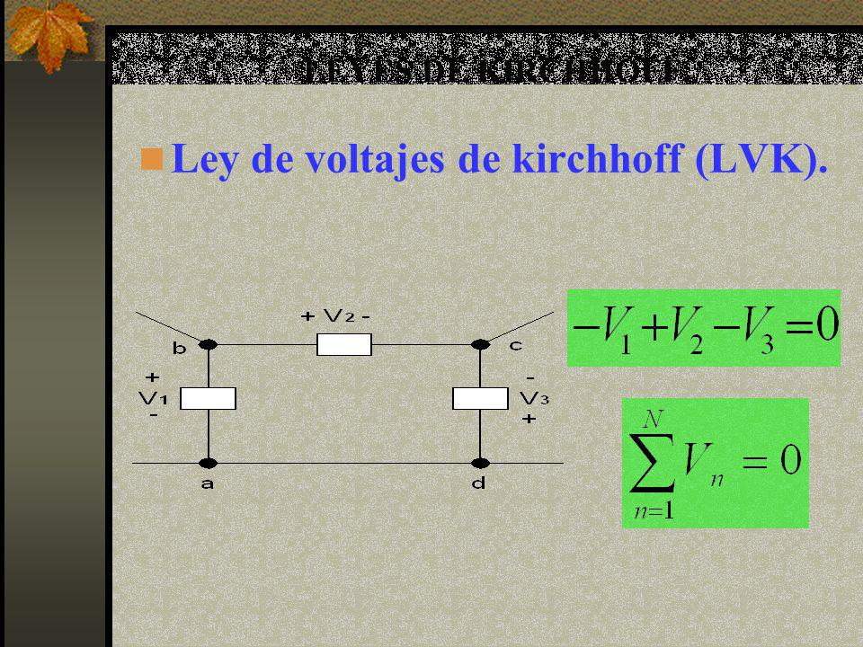 LEYES DE KIRCHHOFF. Ley de voltajes de kirchhoff (LVK).