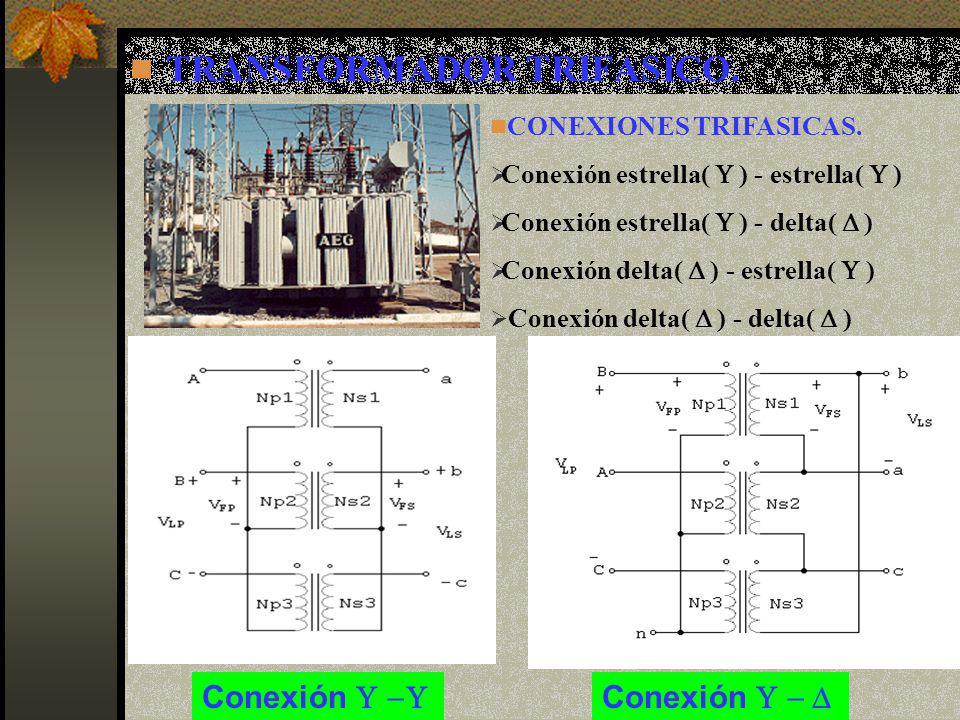 TRANSFORMADOR TRIFASICO. CONEXIONES TRIFASICAS. Conexión estrella( ) - estrella( ) Conexión estrella( ) - delta( ) Conexión delta( ) - estrella( ) Con