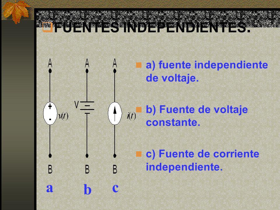 FUENTES INDEPENDIENTES. a) fuente independiente de voltaje. b) Fuente de voltaje constante. c) Fuente de corriente independiente. a b c