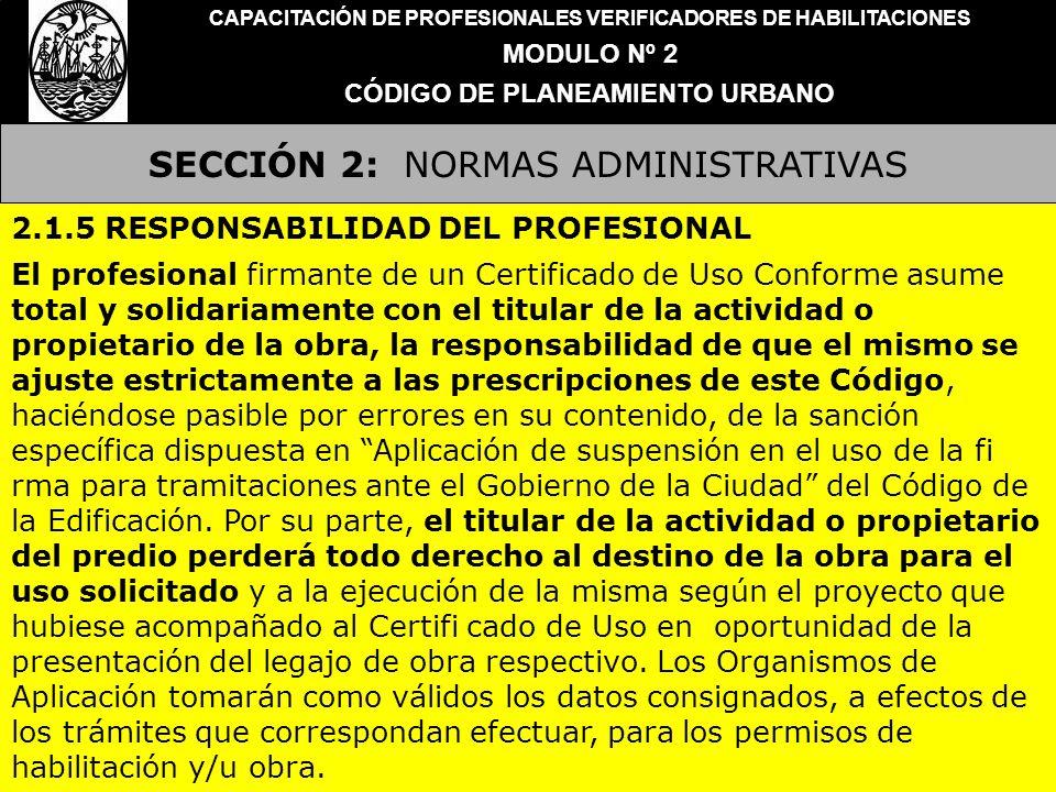 SECCIÓN 2: NORMAS ADMINISTRATIVAS CAPACITACIÓN DE PROFESIONALES VERIFICADORES DE HABILITACIONES MODULO Nº 2 CÓDIGO DE PLANEAMIENTO URBANO 2.1.5 RESPON