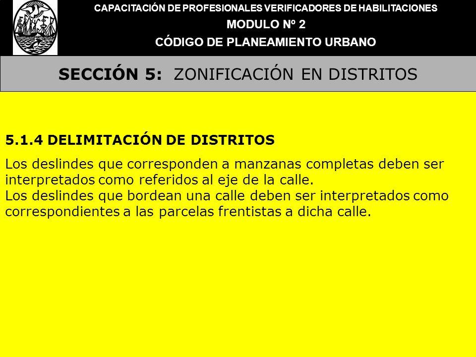 SECCIÓN 5: ZONIFICACIÓN EN DISTRITOS CAPACITACIÓN DE PROFESIONALES VERIFICADORES DE HABILITACIONES MODULO Nº 2 CÓDIGO DE PLANEAMIENTO URBANO 5.1.4 DEL
