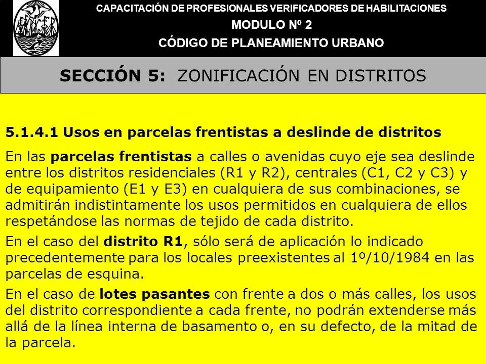 SECCIÓN 5: ZONIFICACIÓN EN DISTRITOS CAPACITACIÓN DE PROFESIONALES VERIFICADORES DE HABILITACIONES MODULO Nº 2 CÓDIGO DE PLANEAMIENTO URBANO 5.1.4.1 U