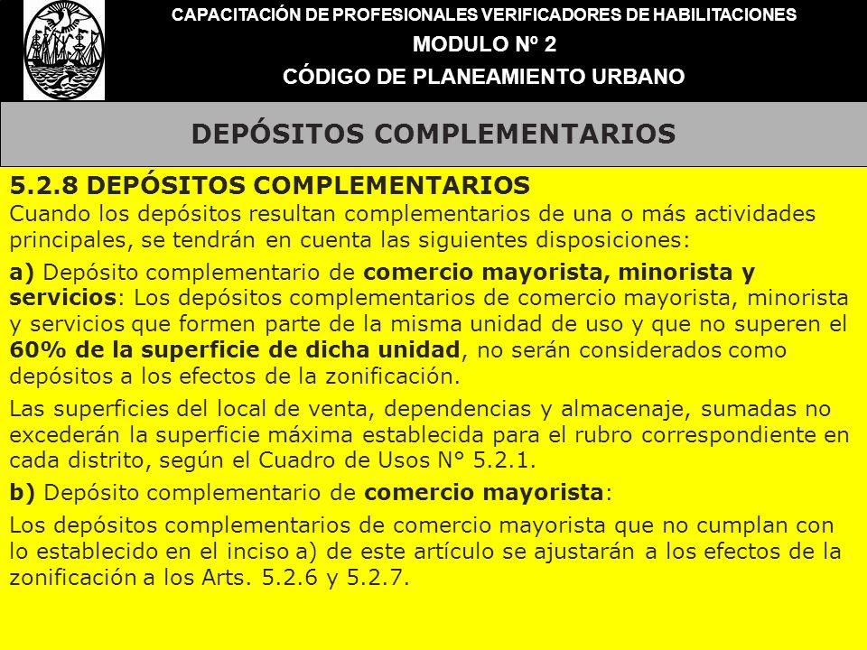 DEPÓSITOS COMPLEMENTARIOS CAPACITACIÓN DE PROFESIONALES VERIFICADORES DE HABILITACIONES MODULO Nº 2 CÓDIGO DE PLANEAMIENTO URBANO 5.2.8 DEPÓSITOS COMP