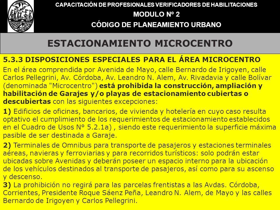 ESTACIONAMIENTO MICROCENTRO CAPACITACIÓN DE PROFESIONALES VERIFICADORES DE HABILITACIONES MODULO Nº 2 CÓDIGO DE PLANEAMIENTO URBANO 5.3.3 DISPOSICIONE