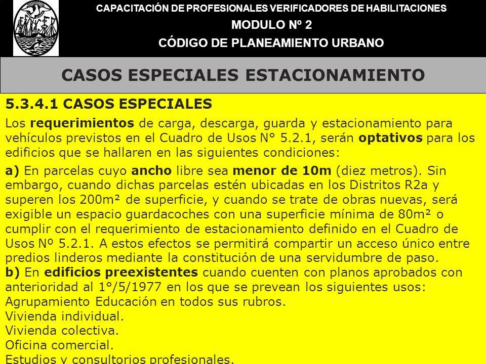 CASOS ESPECIALES ESTACIONAMIENTO CAPACITACIÓN DE PROFESIONALES VERIFICADORES DE HABILITACIONES MODULO Nº 2 CÓDIGO DE PLANEAMIENTO URBANO 5.3.4.1 CASOS
