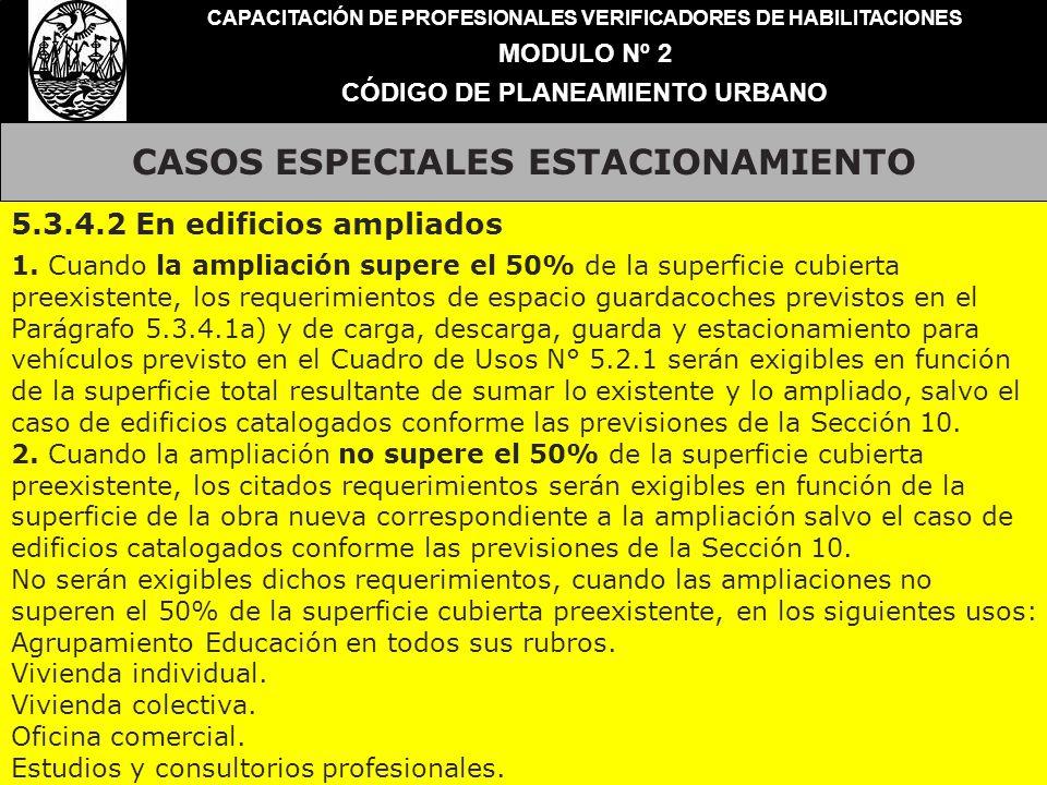 CASOS ESPECIALES ESTACIONAMIENTO CAPACITACIÓN DE PROFESIONALES VERIFICADORES DE HABILITACIONES MODULO Nº 2 CÓDIGO DE PLANEAMIENTO URBANO 5.3.4.2 En ed