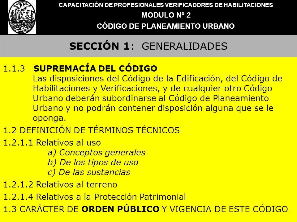 SECCIÓN 1: GENERALIDADES CAPACITACIÓN DE PROFESIONALES VERIFICADORES DE HABILITACIONES MODULO Nº 2 CÓDIGO DE PLANEAMIENTO URBANO 1.1.3 SUPREMACÍA DEL