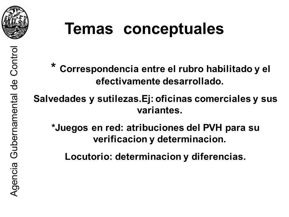 Temas conceptuales * Correspondencia entre el rubro habilitado y el efectivamente desarrollado. Salvedades y sutilezas.Ej: oficinas comerciales y sus