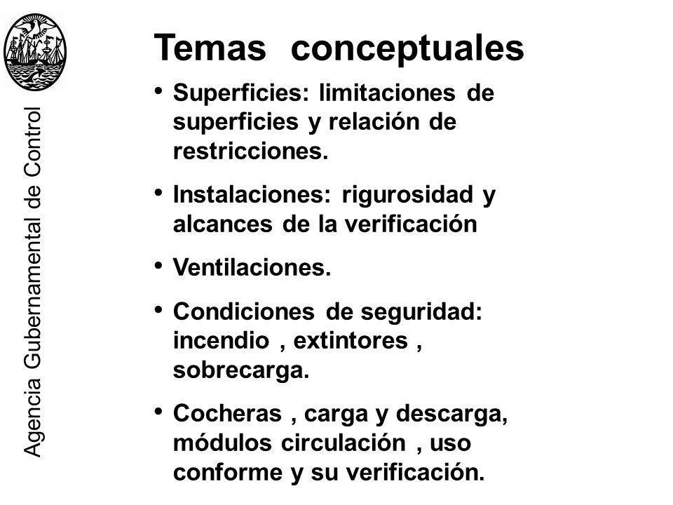 Superficies: limitaciones de superficies y relación de restricciones. Instalaciones: rigurosidad y alcances de la verificación Ventilaciones. Condicio