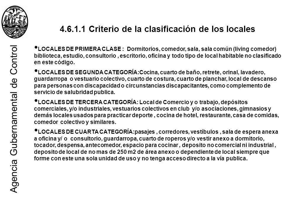 4.6.1.1 Criterio de la clasificación de los locales LOCALES DE PRIMERA CLASE : Dormitorios, comedor, sala, sala común (living comedor) biblioteca, est