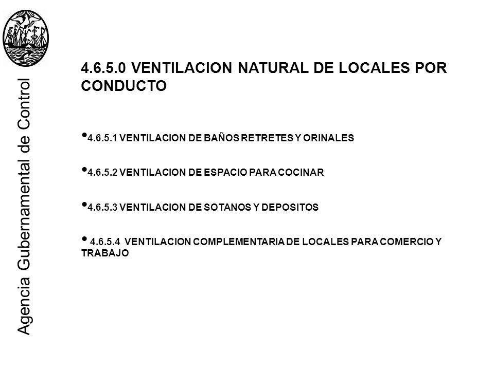 4.6.5.0 VENTILACION NATURAL DE LOCALES POR CONDUCTO 4.6.5.1 VENTILACION DE BAÑOS RETRETES Y ORINALES 4.6.5.2 VENTILACION DE ESPACIO PARA COCINAR 4.6.5