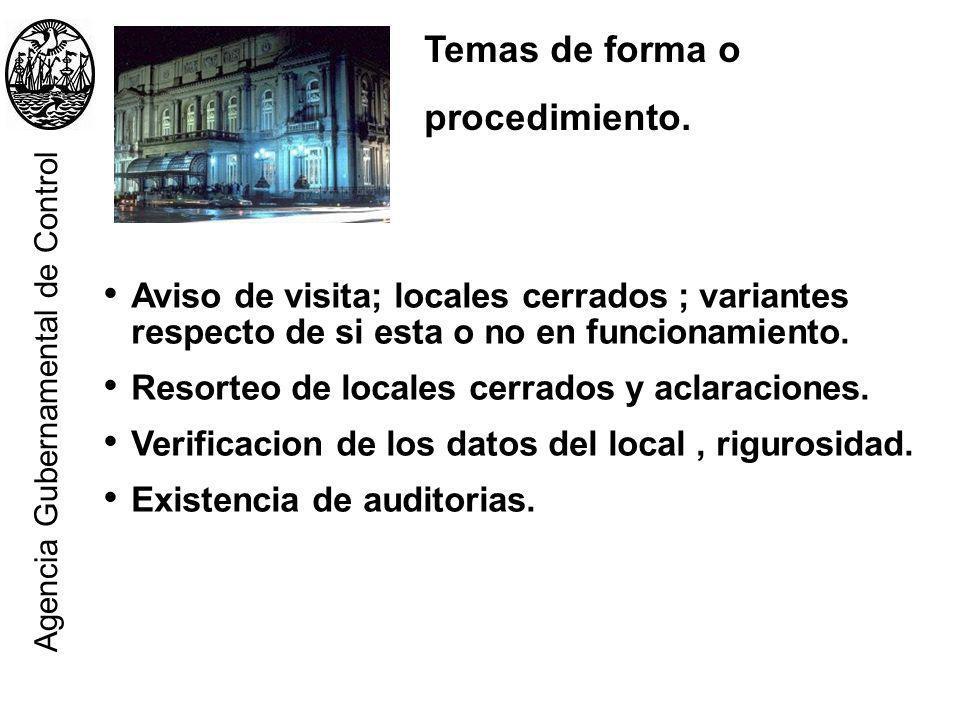 Temas de forma o procedimiento. Aviso de visita; locales cerrados ; variantes respecto de si esta o no en funcionamiento. Resorteo de locales cerrados