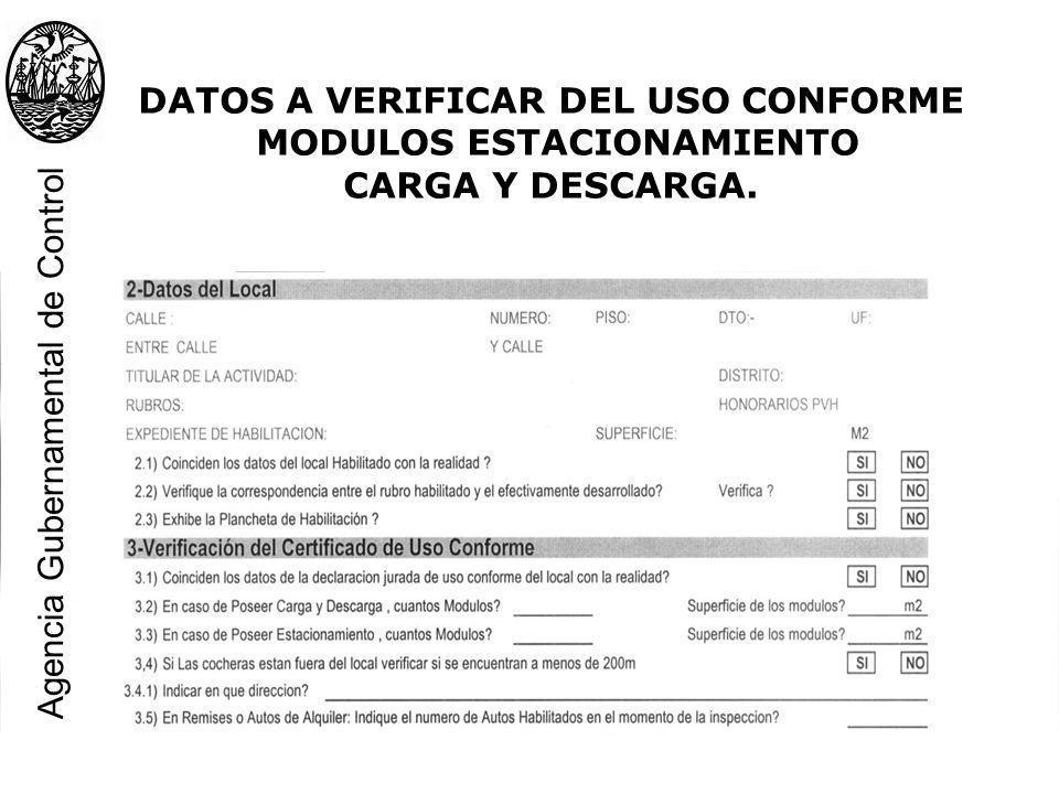 DATOS A VERIFICAR DEL USO CONFORME MODULOS ESTACIONAMIENTO CARGA Y DESCARGA. Agencia Gubernamental de Control