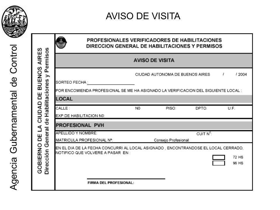 AVISO DE VISITA Agencia Gubernamental de Control