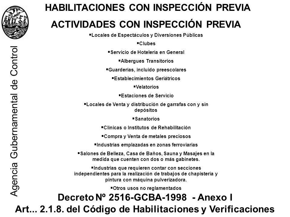 HABILITACIONES CON INSPECCIÓN PREVIA ACTIVIDADES CON INSPECCIÓN PREVIA Locales de Espectáculos y Diversiones Públicas Clubes Servicio de Hotelería en