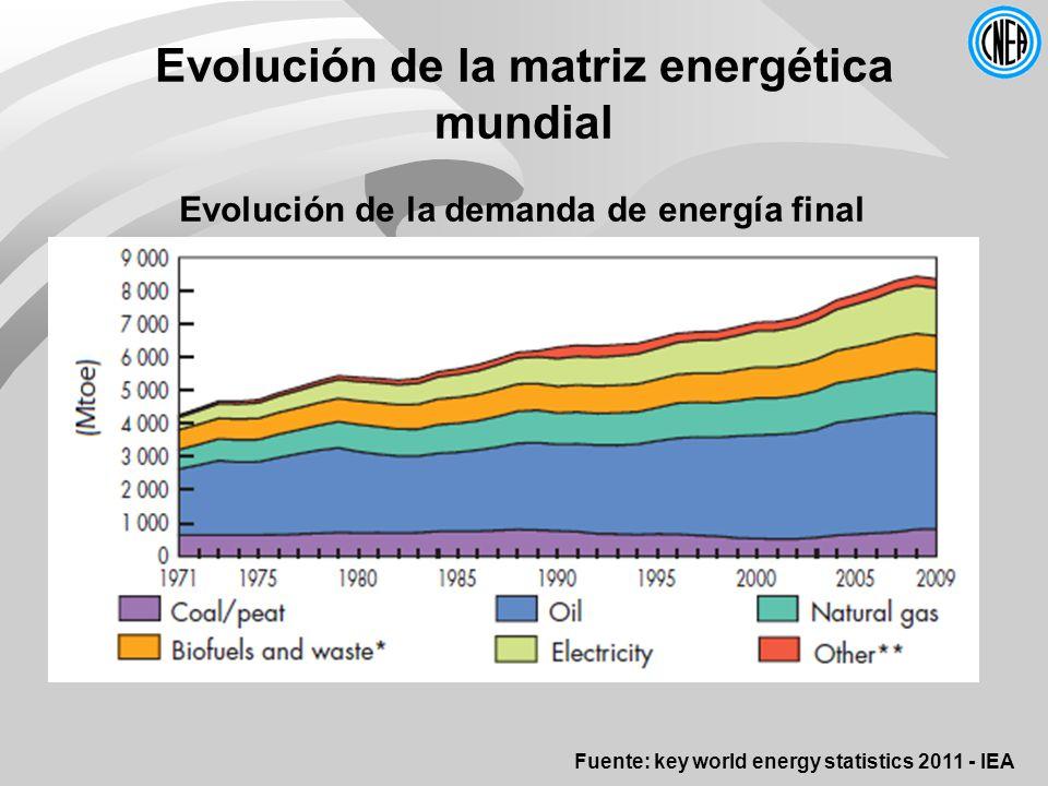 Evolución de la matriz energética mundial Fuente: key world energy statistics 2011 - IEA Evolución de la demanda de energía final