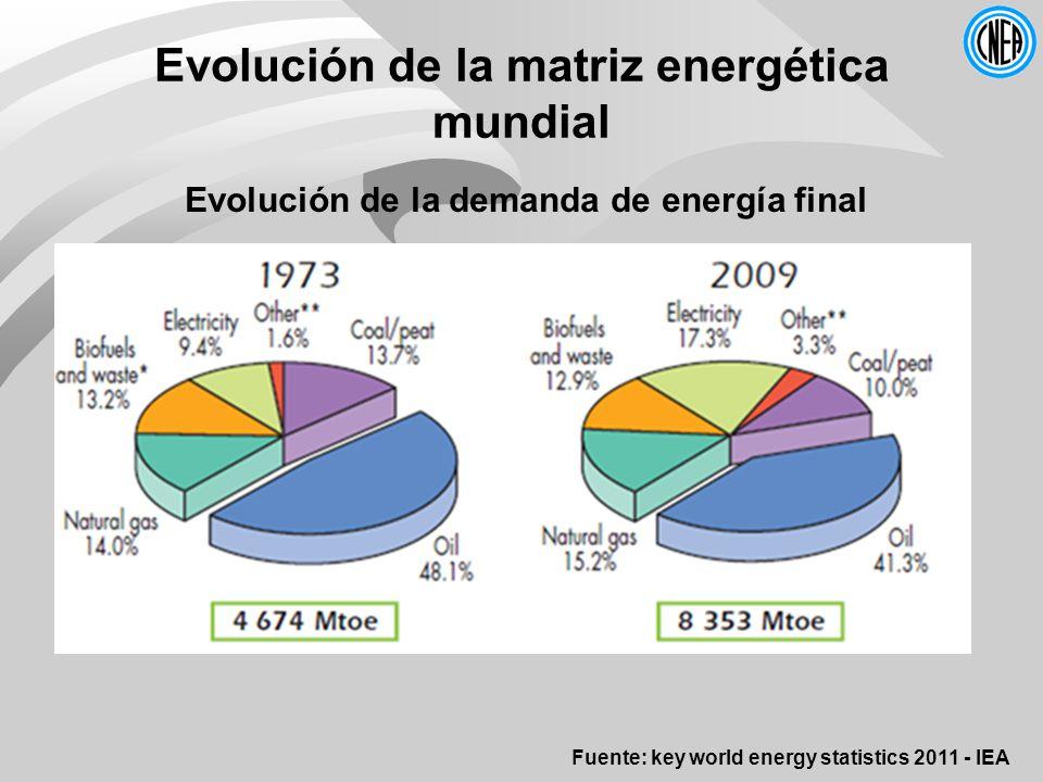Evolución de la matriz energética mundial Evolución de la demanda de energía final Fuente: key world energy statistics 2011 - IEA