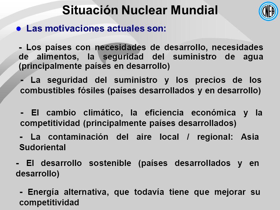 Situación Nuclear Mundial - Los países con necesidades de desarrollo, necesidades de alimentos, la seguridad del suministro de agua (principalmente pa