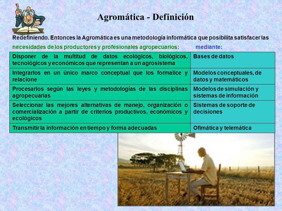 Agromática - Definición necesidades de los productores y profesionales agropecuarios:mediante: Redefiniendo. Entonces la Agromática es una metodología