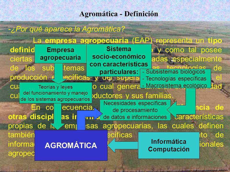Agromática - Definición La empresa agropecuaria (EAP) representa un tipo definido de sistema socio-económico y como tal posee ciertas características