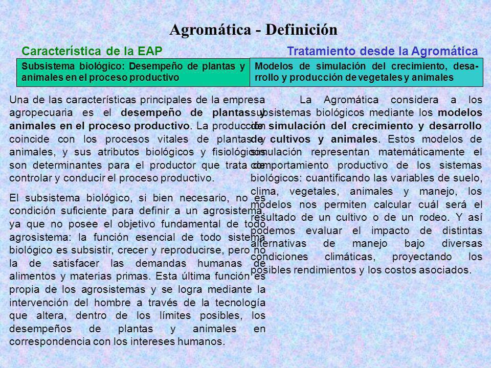 Agromática - Definición Característica de la EAPTratamiento desde la Agromática Subsistema biológico: Desempeño de plantas y animales en el proceso productivo Modelos de simulación del crecimiento, desa- rrollo y producción de vegetales y animales Macrosistema ecológicoBases de datos de recursos naturales.