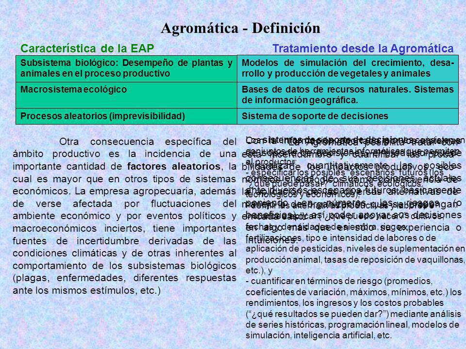 Agromática - Definición Característica de la EAPTratamiento desde la Agromática Subsistema biológico: Desempeño de plantas y animales en el proceso pr