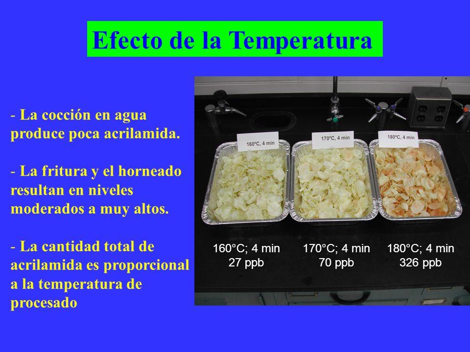 - La cocción en agua produce poca acrilamida.