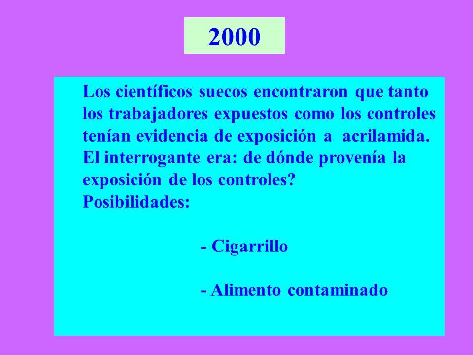 Galletitas / Bizcochos Otros alimentos Exposición Relativa a Acrilamida en E.E.U.U.