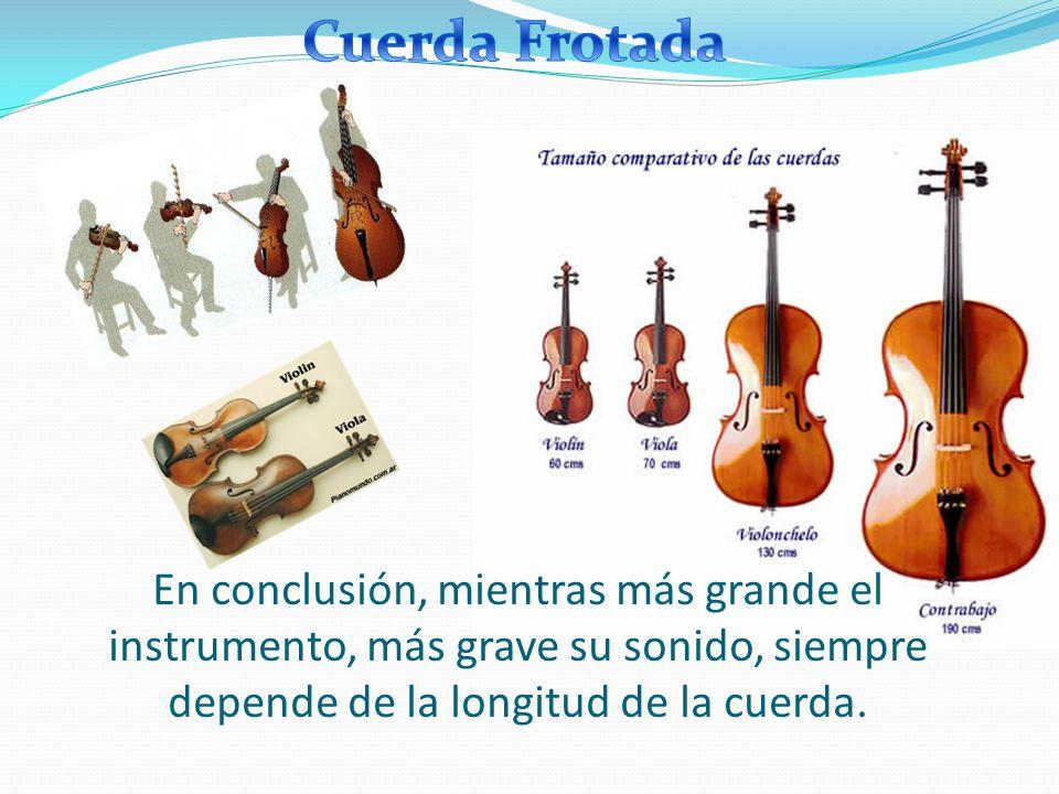 CUERDA Llamados generalmente cordófonos y los agrupamos en: Frotados o de arco: violín Agudo viola violoncelo contrabajo Grave Pulsados o rasgueados: