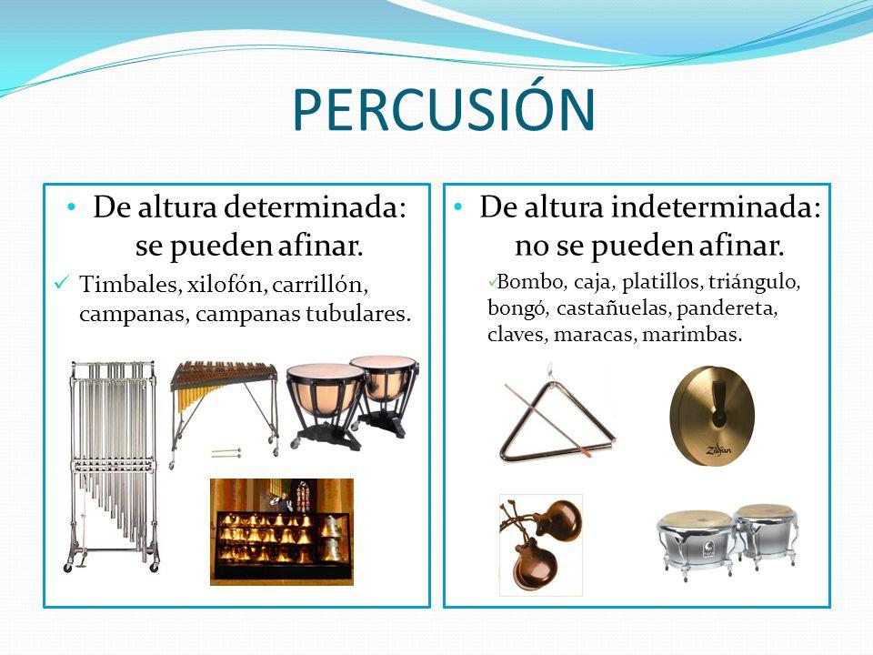 OTRA CLASIFICACIÓN DE LOS INSTRUMENTOS DE PERCUSIÓN Producen sonido al ser golpeados, entrechocados, sacudidos o raspados. Se dividen en dos grupos :