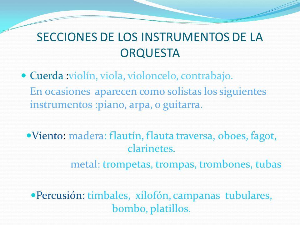 SECCIONES DE LOS INSTRUMENTOS DE LA ORQUESTA Cuerda :violín, viola, violoncelo, contrabajo.