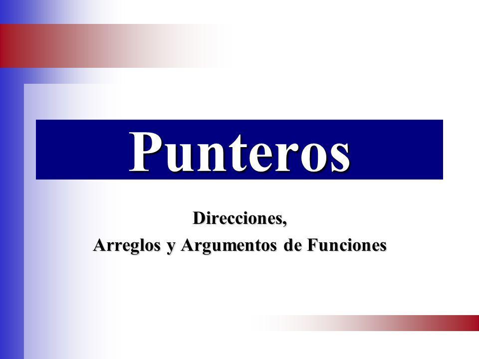 Prog. Univ. Rodriguez Rey Pablo J. 1Punteros Direcciones, Arreglos y Argumentos de Funciones