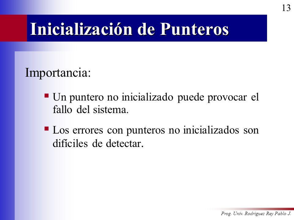 Prog. Univ. Rodriguez Rey Pablo J. 13 Inicialización de Punteros Importancia: Un puntero no inicializado puede provocar el fallo del sistema. Los erro