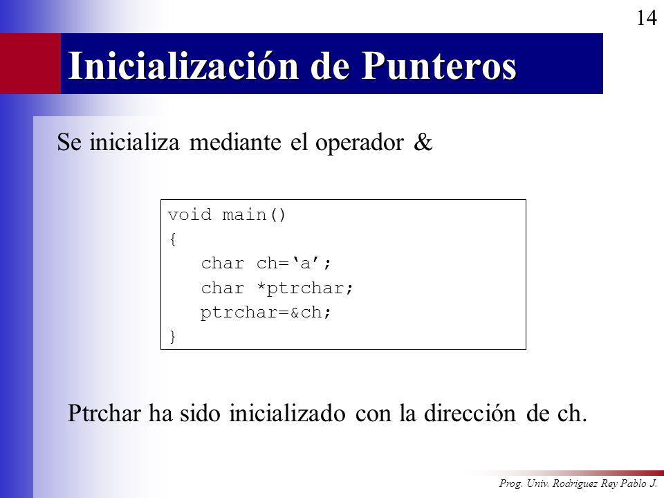 Prog. Univ. Rodriguez Rey Pablo J. 14 Inicialización de Punteros Se inicializa mediante el operador & void main() { char ch=a; char *ptrchar; ptrchar=