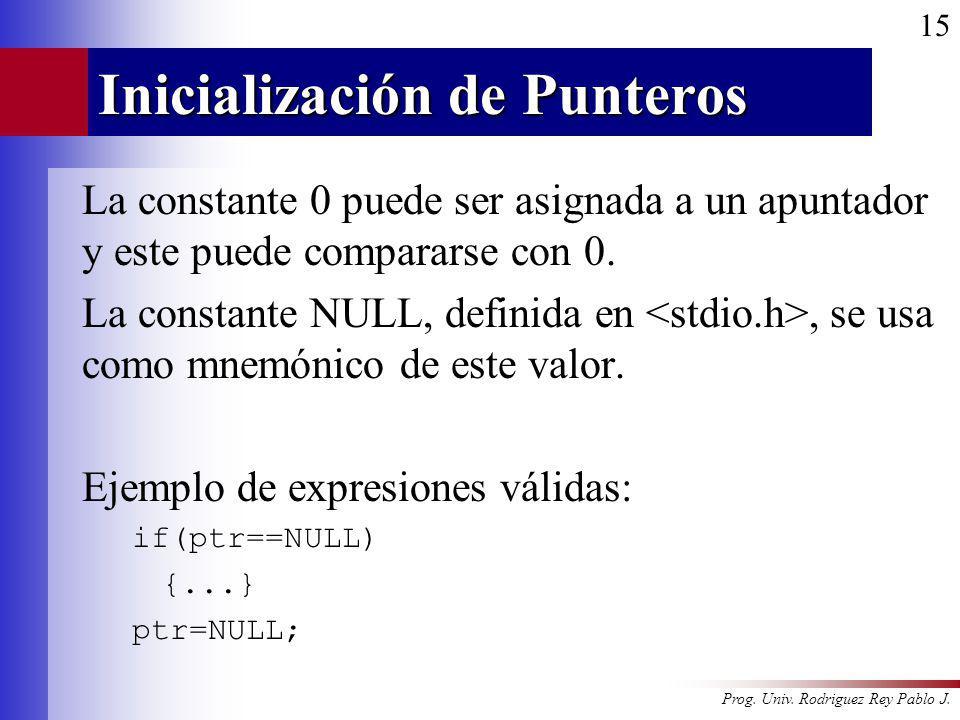 Prog. Univ. Rodriguez Rey Pablo J. 15 Inicialización de Punteros La constante 0 puede ser asignada a un apuntador y este puede compararse con 0. La co
