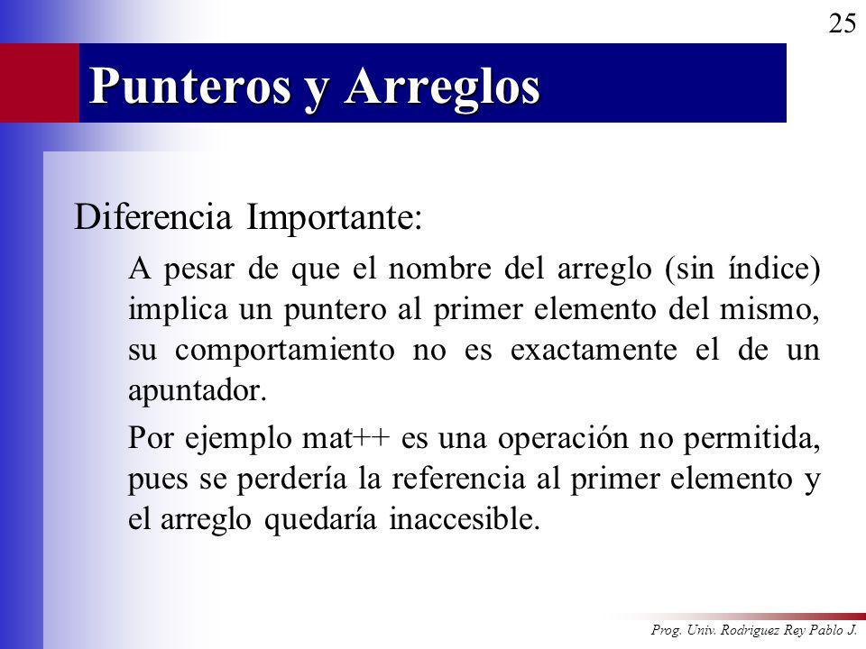 Prog. Univ. Rodriguez Rey Pablo J. 25 Punteros y Arreglos Diferencia Importante: A pesar de que el nombre del arreglo (sin índice) implica un puntero