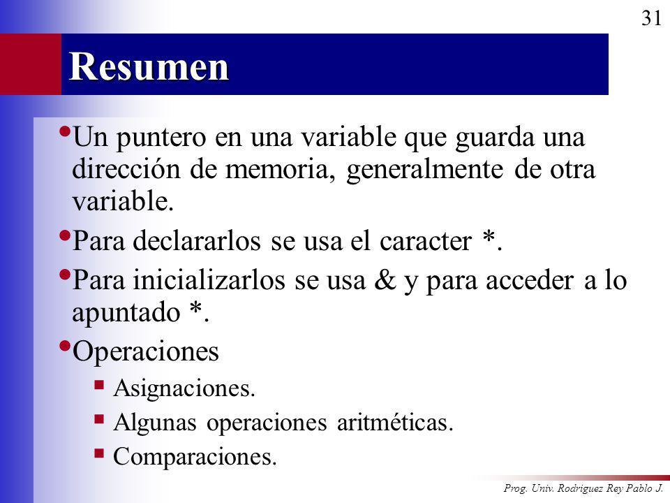 Prog. Univ. Rodriguez Rey Pablo J. 31Resumen Un puntero en una variable que guarda una dirección de memoria, generalmente de otra variable. Para decla