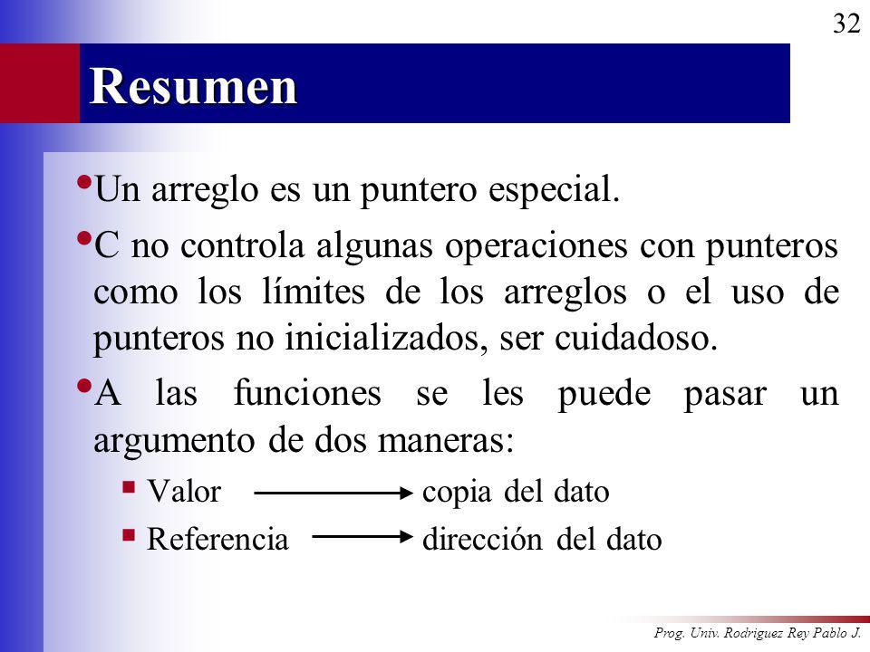 Prog. Univ. Rodriguez Rey Pablo J. 32Resumen Un arreglo es un puntero especial. C no controla algunas operaciones con punteros como los límites de los