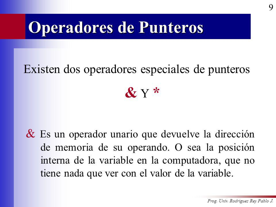 Prog. Univ. Rodriguez Rey Pablo J. 9 Operadores de Punteros Existen dos operadores especiales de punteros & Y * & Es un operador unario que devuelve l