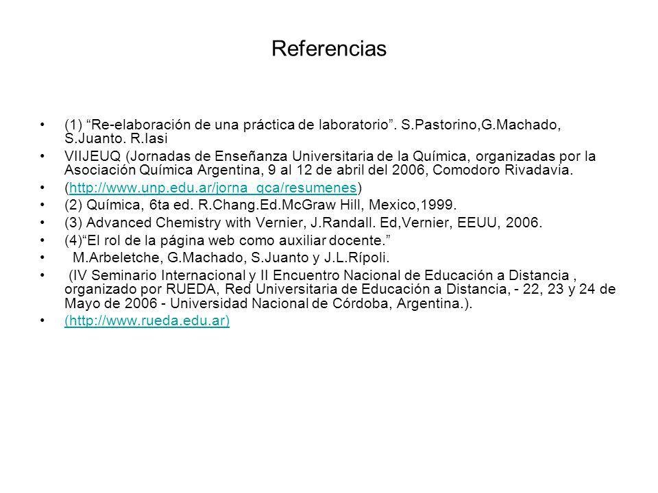 Referencias (1) Re-elaboración de una práctica de laboratorio. S.Pastorino,G.Machado, S.Juanto. R.Iasi VIIJEUQ (Jornadas de Enseñanza Universitaria de