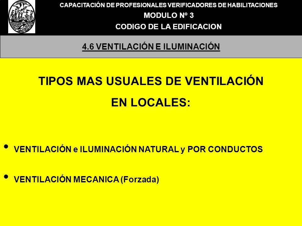 CAPACITACIÓN DE PROFESIONALES VERIFICADORES DE HABILITACIONES MODULO Nº 3 CODIGO DE LA EDIFICACION 4.6 VENTILACIÓN E ILUMINACIÓN TIPOS MAS USUALES DE VENTILACIÓN EN LOCALES: VENTILACIÓN e ILUMINACIÓN NATURAL y POR CONDUCTOS VENTILACIÓN MECANICA (Forzada)