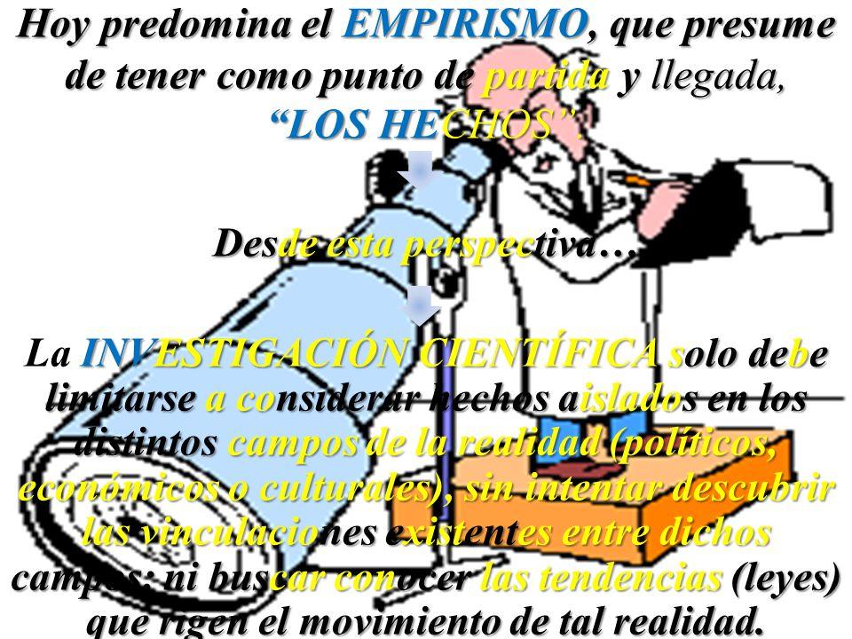 Hoy predomina el EMPIRISMO, que presume de tener como punto de partida y llegada, LOS HECHOS. Desde esta perspectiva… INVESTIGACIÓN CIENTÍFICA solo de