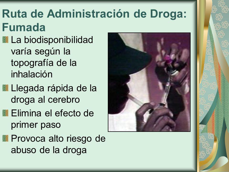 Ruta de Administración de Droga: Fumada La biodisponibilidad varía según la topografía de la inhalación Llegada rápida de la droga al cerebro Elimina el efecto de primer paso Provoca alto riesgo de abuso de la droga
